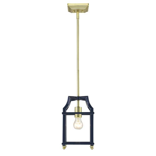 Leighton Satin Brass and Navy Lantern Mini Pendant