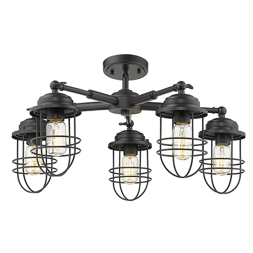 Seaport Black Five-Light Semi-Flush Mount