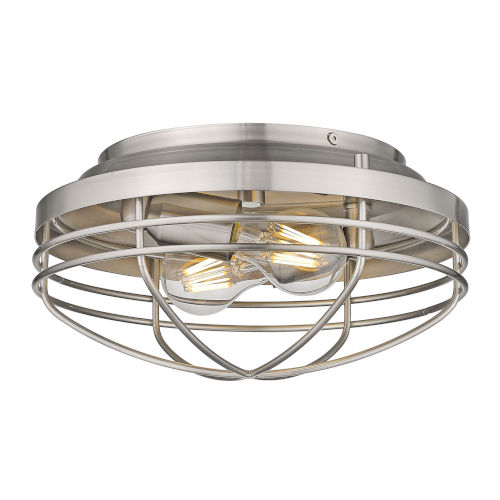 Seaport Pewter 12-Inch Two-Light Flush Mount