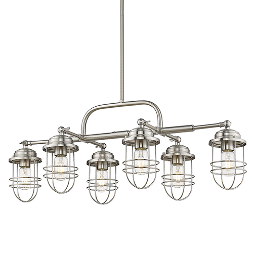 Seaport Pewter Six-Light Pendant