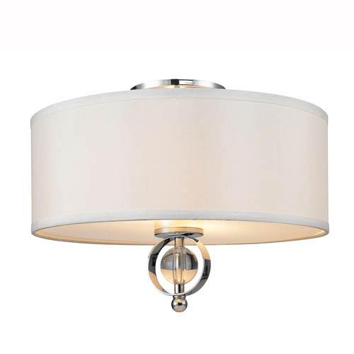 Golden Lighting Cerchi Chrome Two-Light Semi Flush Mount with Opal Satin Shade