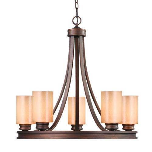 Golden Lighting Hidalgo Sovereign Bronze Five-Light Chandelier with Regal Glass