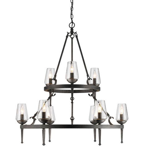 Golden Lighting Marcellis Dark Natural Iron Nine-Light Two-Tier Chandelier