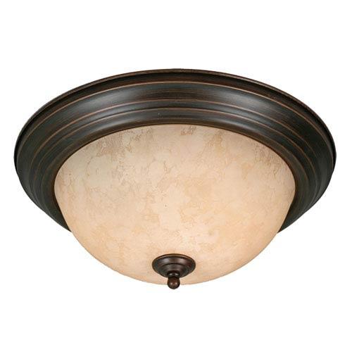 Golden Lighting Multi-Family Rubbed Bronze Two Light Flush Mount with Tea Stone Glass