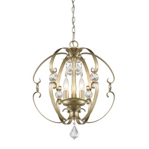 Golden Lighting Ella White Gold Three-Light Pendant
