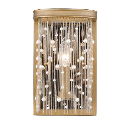Golden Lighting Marilyn Peruvian Gold 6-Inch One-Light Wall Sconce with Pearl Strands