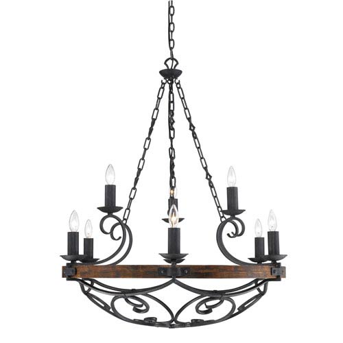 Golden Lighting Madera Black Iron Nine Light Chandelier