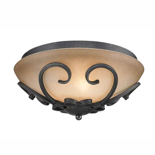 Madera Black Iron Toscano Glass Flush Mount