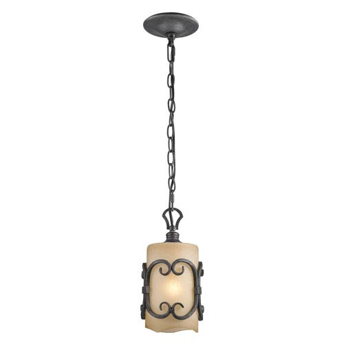 Madera Black Iron Toscano Glass Mini Pendant