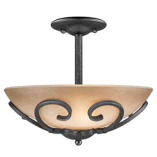 Golden Lighting Madera Black Iron Convertible Semi Flush