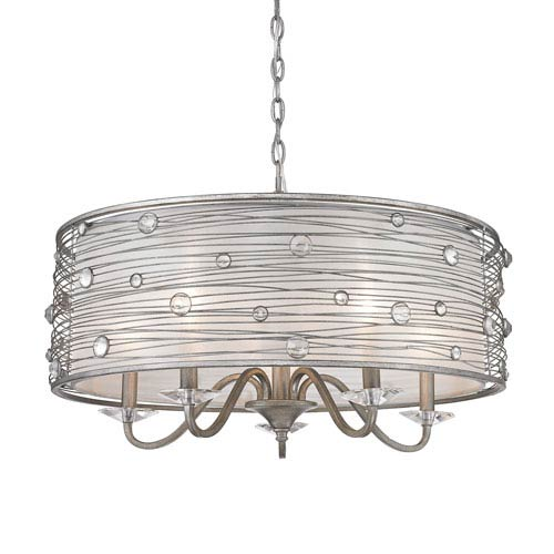 Golden Lighting Joia Peruvian Silver Five Light Chandelier