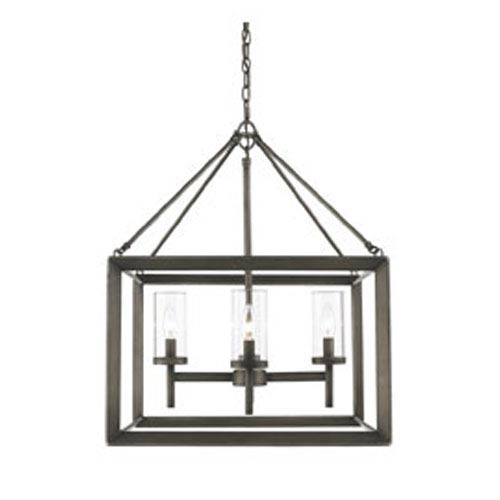 Smyth Gunmetal Bronze Four-Light Chandelier with Clear Glass
