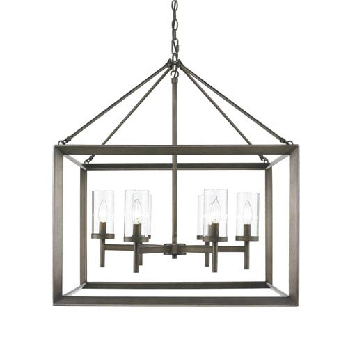 Smyth Gunmetal Bronze Six-Light Chandelier with Clear Glass