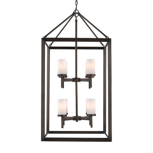 Smyth Gunmetal Bronze Eight-Light Pendant with Opal Glass