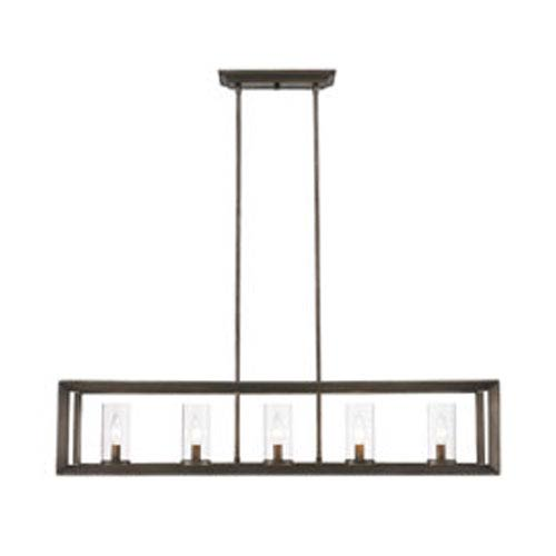 Smyth Gunmetal Bronze Linear Pendant with Clear Glass