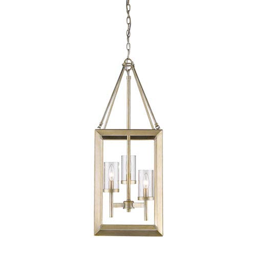 Smyth White Gold Three-Light Pendant with Clear Glass Shade