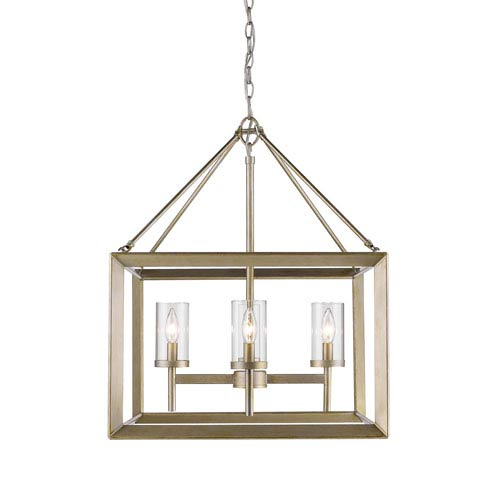 Smyth White Gold Four-Light Chandelier with Clear Glass Shade