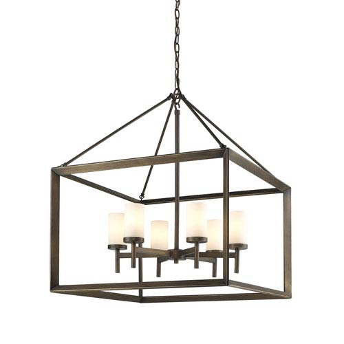 Smyth Gunmetal Bronze Six-Light Chandelier with Opal Glass Shade