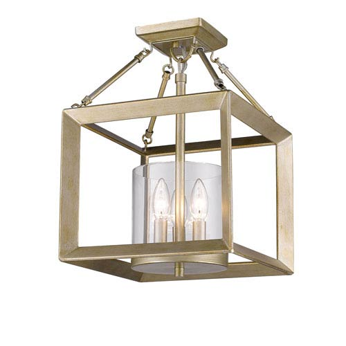 Smyth White Gold Three-Light Semi-Flushmount with Clear Glass Shade