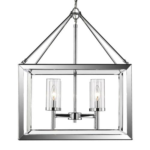 Smyth Chrome Four-Light Chandelier with Clear Glass