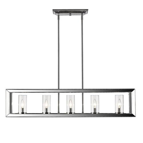 Smyth Chrome Five-Light Linear Pendant with Clear Glass