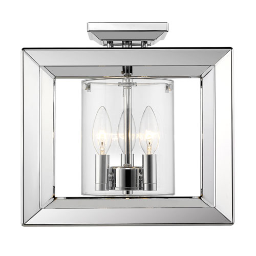 Smyth Chrome 12-Inch Three-Light Semi-Flush Mount with Clear Glass