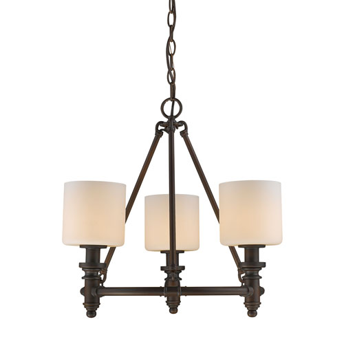Beckford Rubbed Bronze 19-Inch Three-Light Mini Chandelier with Opal Glass