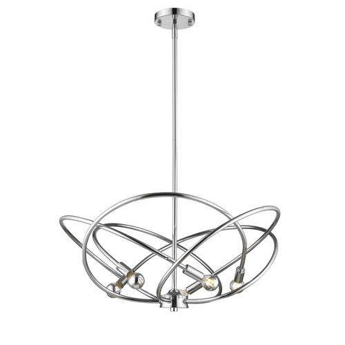 Cosmic Chrome Five-Light Chandelier