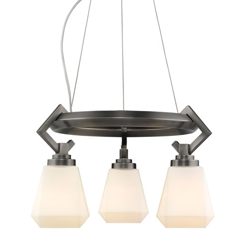 Hollis Aged Steel 17-Inch Three-Light Mini Chandelier with Opal Glass