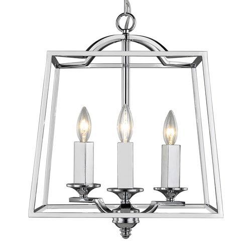 Golden Lighting Athena Chrome Three Light Pendant