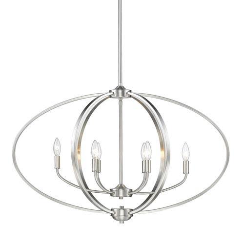 Golden Lighting Colson Pewter Six-Light Linear Pendant