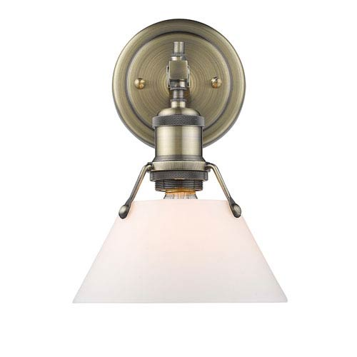 Golden Lighting Orwell Aged Brass One-Light Bath Vanity with Opal Glass Shade
