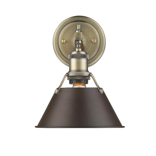 Golden Lighting Orwell Aged Brass One-Light Bath Vanity with Rubbed Bronze Shade