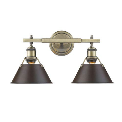 Golden Lighting Orwell Aged Brass Two-Light Bath Vanity with Rubbed Bronze Shades