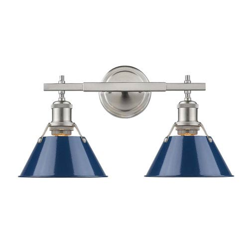 Orwell Pewter Two-Light Bath Vanity with Navy Blue Shades