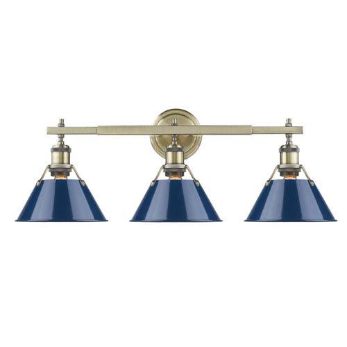 Golden Lighting Orwell Aged Brass Three-Light Bath Vanity with Navy Blue Shades