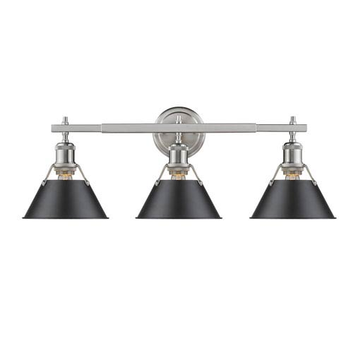 Orwell Pewter Three-Light Bath Vanity with Black Shades