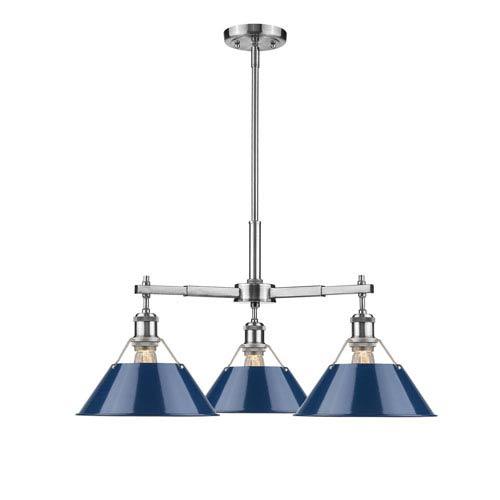 Golden Lighting Orwell Pewter Three-Light Nook Chandelier with Navy Blue Shades