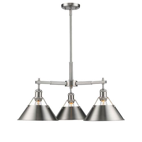 Golden Lighting Orwell Pewter Three-Light Nook Chandelier with Pewter Shades