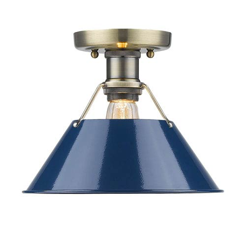 Orwell Aged Brass One-Light Flush Mount with Navy Blue Shade