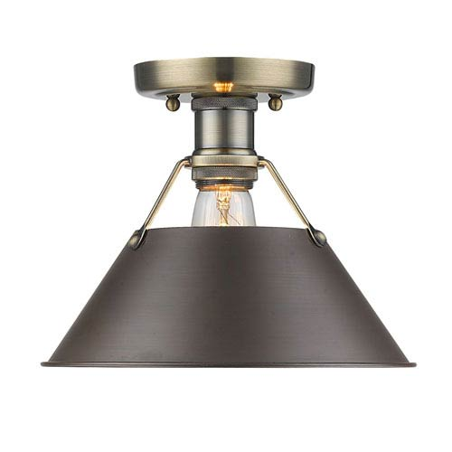 Orwell Aged Brass One-Light Flush Mount with Rubbed Bronze Shade
