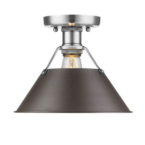 Golden Lighting Orwell Pewter One-Light Flush Mount with Rubbed Bronze Shade