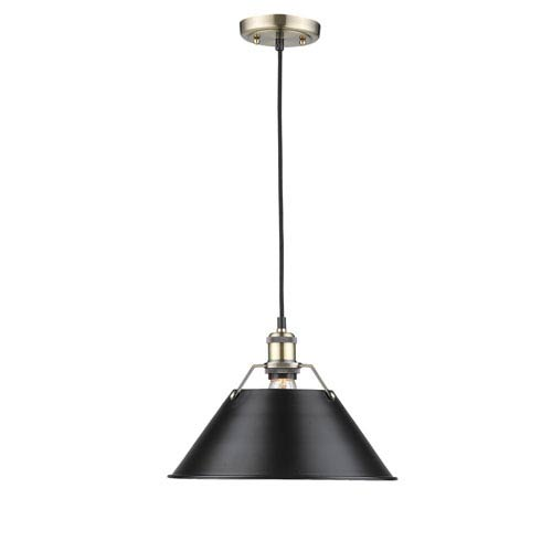 Orwell Aged Brass One-Light Pendant with Black Shade