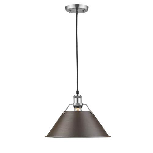 Golden Lighting Orwell Pewter One-Light Pendant with Rubbed Bronze Shade