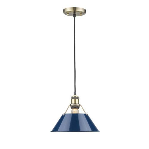 Golden Lighting Orwell Aged Brass 10-Inch One-Light Mini Pendant with Navy Blue Shade
