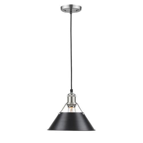 Orwell Pewter 10-Inch One-Light Mini Pendant with Black Shade