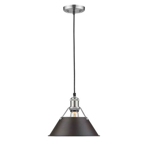Orwell Pewter 10-Inch One-Light Mini Pendant with Rubbed Bronze Shade