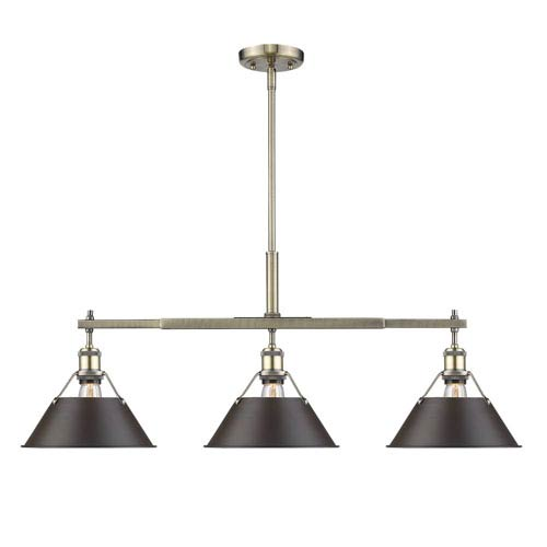 Golden Lighting Orwell Aged Brass Three-Light Linear Pendant with Rubbed Bronze Shades