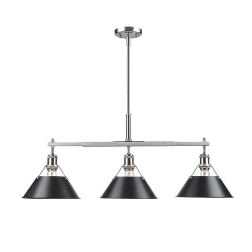 Golden Lighting Orwell Pewter Three-Light Linear Pendant with Black Shades