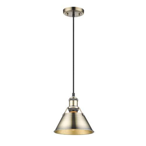 Golden Lighting Orwell Aged Brass One-Light Mini Pendant with Aged Brass Shade